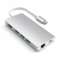 Картридер + usb hub Satechi Satechi Type-C Multi-Port Adapter 4K with Ethernet V2 Silver (ST-TCMA2S)