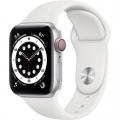 Смарт-годинник Apple Watch Series 6 GPS + Cellular 40mm Silver Aluminum Case w. White Sport B. (M02N3)             Новинка