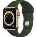 Смарт-годинник Apple Watch Series 6 GPS + Cellular 40mm Gold Stainless Steel Case w. Cyprus Green Sport B. (M02W3)             Новинка