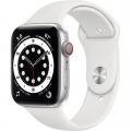 Смарт-годинник Apple Watch Series 6 GPS + Cellular 44mm Silver Aluminum Case w. White Sport B. (M07F3)             Новинка