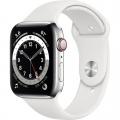 Смарт-годинник Apple Watch Series 6 GPS + Cellular 44mm Silver Stainless Steel Case w. White Sport B. (M07L3)             Новинка