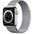 Смарт-годинник Apple Watch Series 6 GPS + Cellular 40mm Silver Stainless Steel Case w. Silver Milanese L. (M02V3)             Новинка